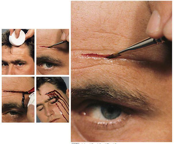 Per creare una 'ferita aperta' applicare Derma Wax con il lato affilato della Spatola di modo che formi un taglio aperto. Praticare un taglio longitudinalmente. Colorare la parte interna della ferita con del maquillage rosso scuro. Aggiungere il sangue a seconda dell'effetto desiderato. Per estendere il sangue attorno alla 'ferita' utilizzare eventualmente una Spugnetta per barba Grimas o una velina. Sul nostro store tutti i prodotti indispensabili…