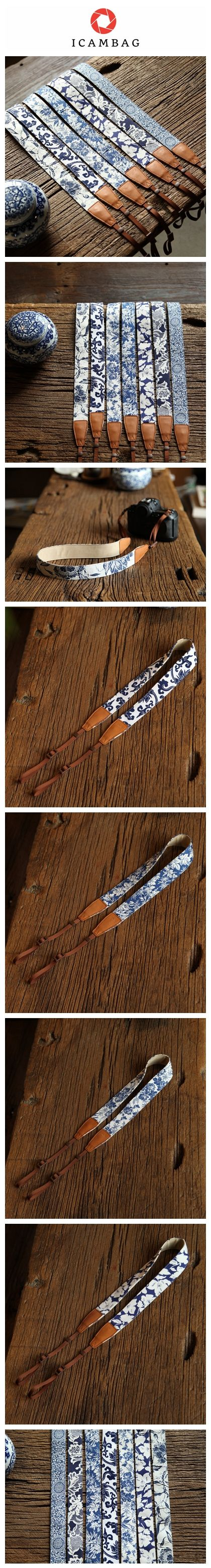 Blue and white Porcelain Cowboy DSLR Strap lovely strap Handmade Leather Camera Strap Brown CS074 Handmade with top layer cow leather and denim. It can fit almost every DSLR, SLR and some larger digit