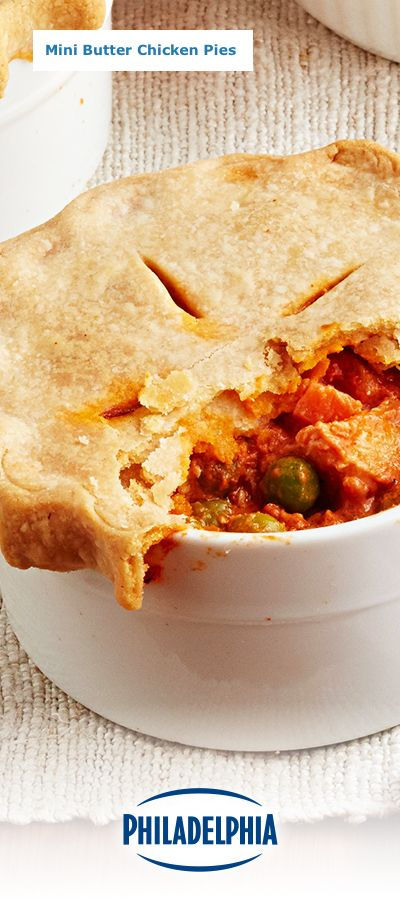 Spice up your weeknight dinners with our homey and delicious Mini Butter Chicken Pies. This cozy dish features vegetables, chicken, and PHILADELPHIA Light Brick Cream Cheese.