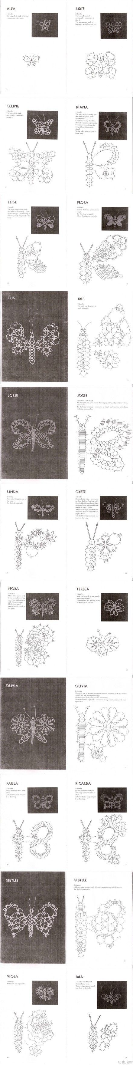 """Butterflies with tatting patterns and diagrams ... """" oops,  lots of pretty tatting diagrams of butterflies."""""""