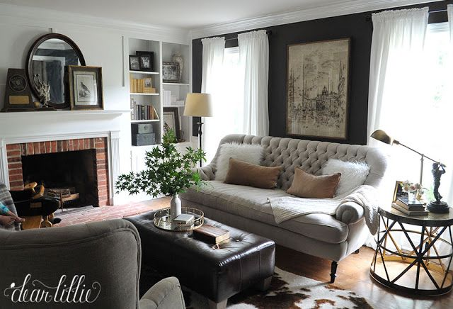 More Progress in Our Den/Study...new sofa, round side table...lovely~    by Dear Lillie