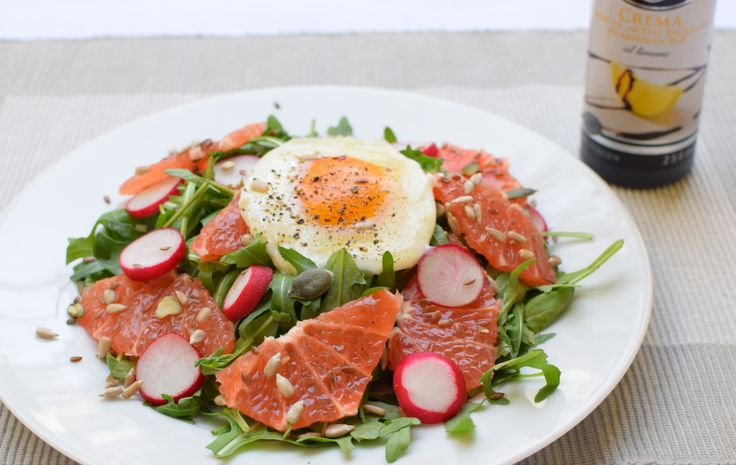 spring salad with poached egg and grapefruit