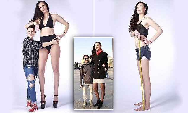 Ekaterina Lisina, 29, from Penza in Russia, is the tallest woman in Russia but now wants to get the world record for being the tallest model and for having the longest legs of anyone.