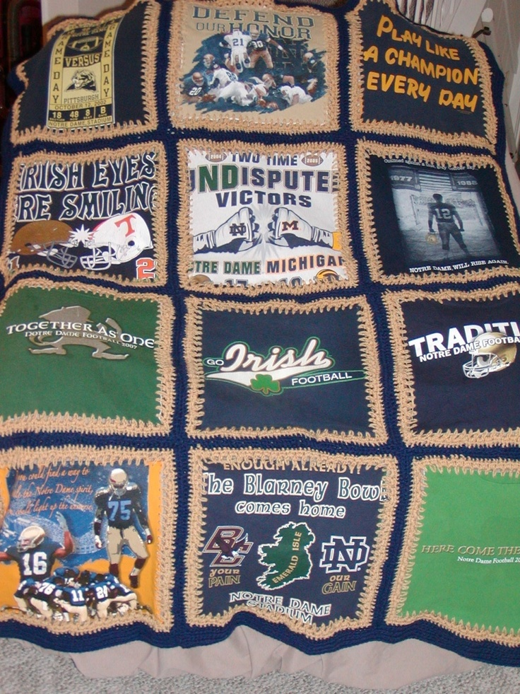 University of Notre dame t-shirt blanket
