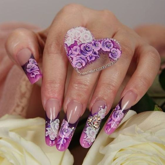 purple nail art for wedding 2018 - Reny styles