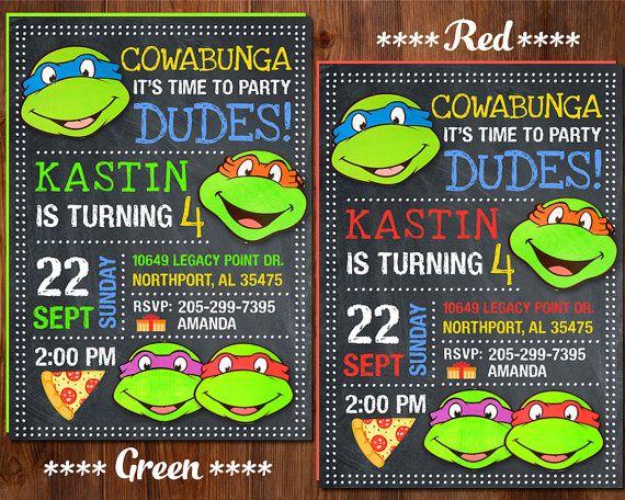 The 25 best Ninja turtle invitations ideas on Pinterest