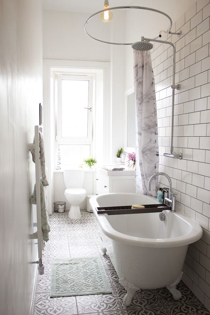 Lustworthy Rooms: A White Tiled Bathroom / Clawfoot Tub, Grey Patterned  Tile Floors, Marble Printed Shower Curtain Part 9
