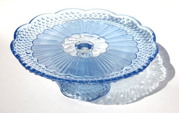 Vintage Blue Depression Glass Cake Pedestal Stand for Wedding Birthday Anniversary Display Desserts Something Blue. $99.00