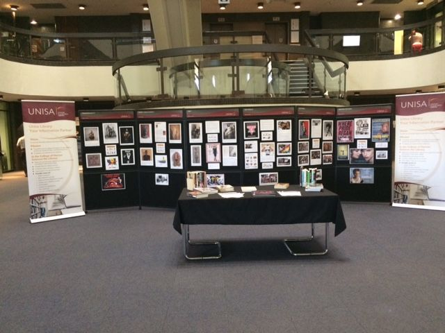 The organisers of the Quiltbag Project, Prof Fanie van Zyl (Mercantile Law) and Dr Terrence Carney (Theory of Literature) asked the UNISA library to put up an exhibition in support of their two-day Quiltbag seminar and Film Festival, held in the Dr Mirriam Makeba Auditorium on the 7-8th October.