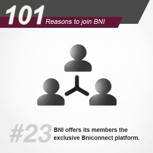 BNI offers its members the exclusive Bniconnect platform to connect with BNI members across countries and continents. We don't just like that say, Local business, global network. Watch us walk the talk, get invited today to a BNI meeting → http://bit.ly/BNIgetinvited