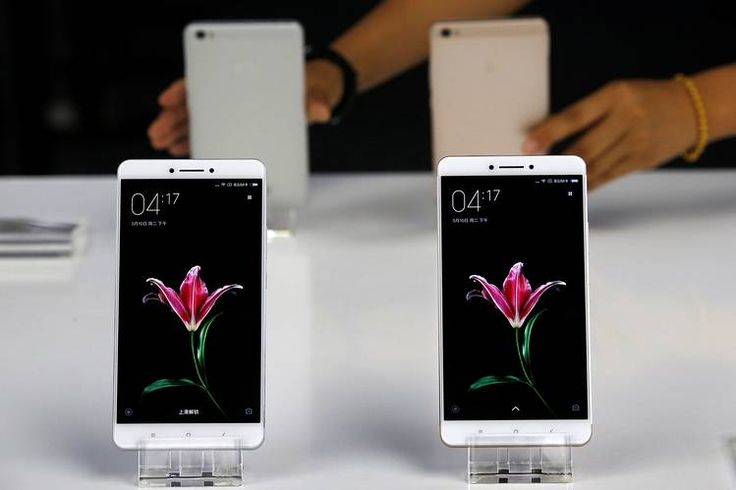 Xiaomi's new model Mi Max devices on display a launching ceremony in Beijing on May...