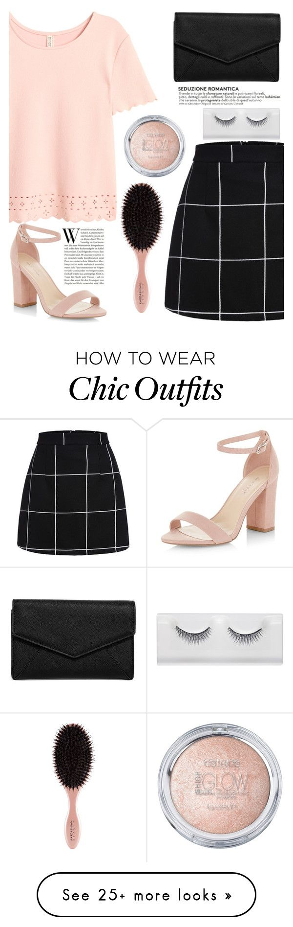 """I got this Feeling"" by mirmir-825 on Polyvore featuring New Look, LULUS, Clutch, blockheel, scalloped and gridprintskirt"