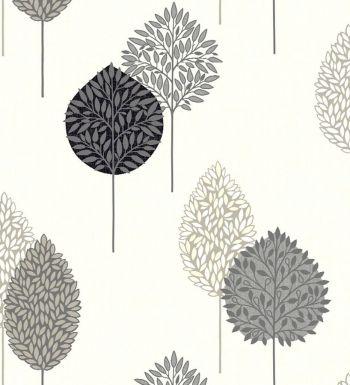 Papel pintado árboles modernos grises estilo nórdico - 40814