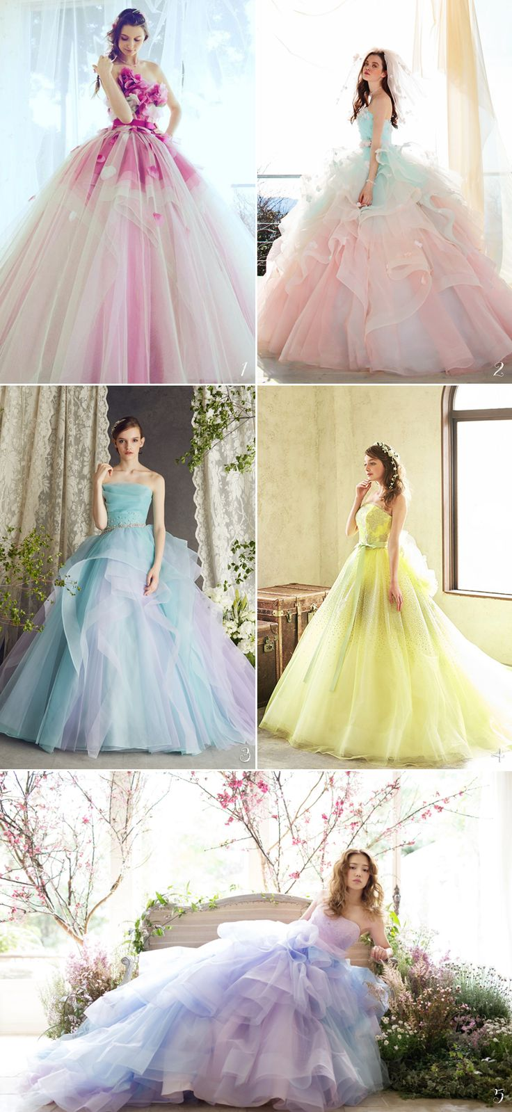 No princess is complete without her magical gown! Achieving the fairy tale bridal look of your dreams is only possible when you find the perfect dress. If you are ready to step out of your comfort zone and consider a colored gown, we've got the best picks for you. Get ready to fall in love and twirl around in one of our handpicked magical gowns below!