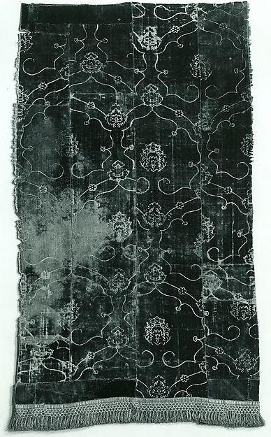 Panel Date: 15th century Culture: Italian or Spanish Medium: Silk; metal; Dimensions: 44 1/2 x 25 1/2 in. (114.6 x 66.2 cm) with fringe Classification: Textiles-Velvets