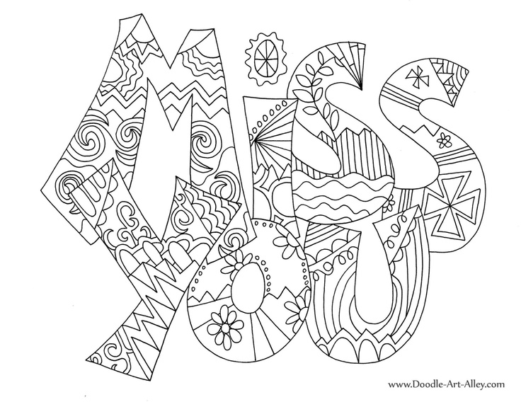 "Miss alphabet coloring pages ~ ""Miss You"" doodle~art greeting card 