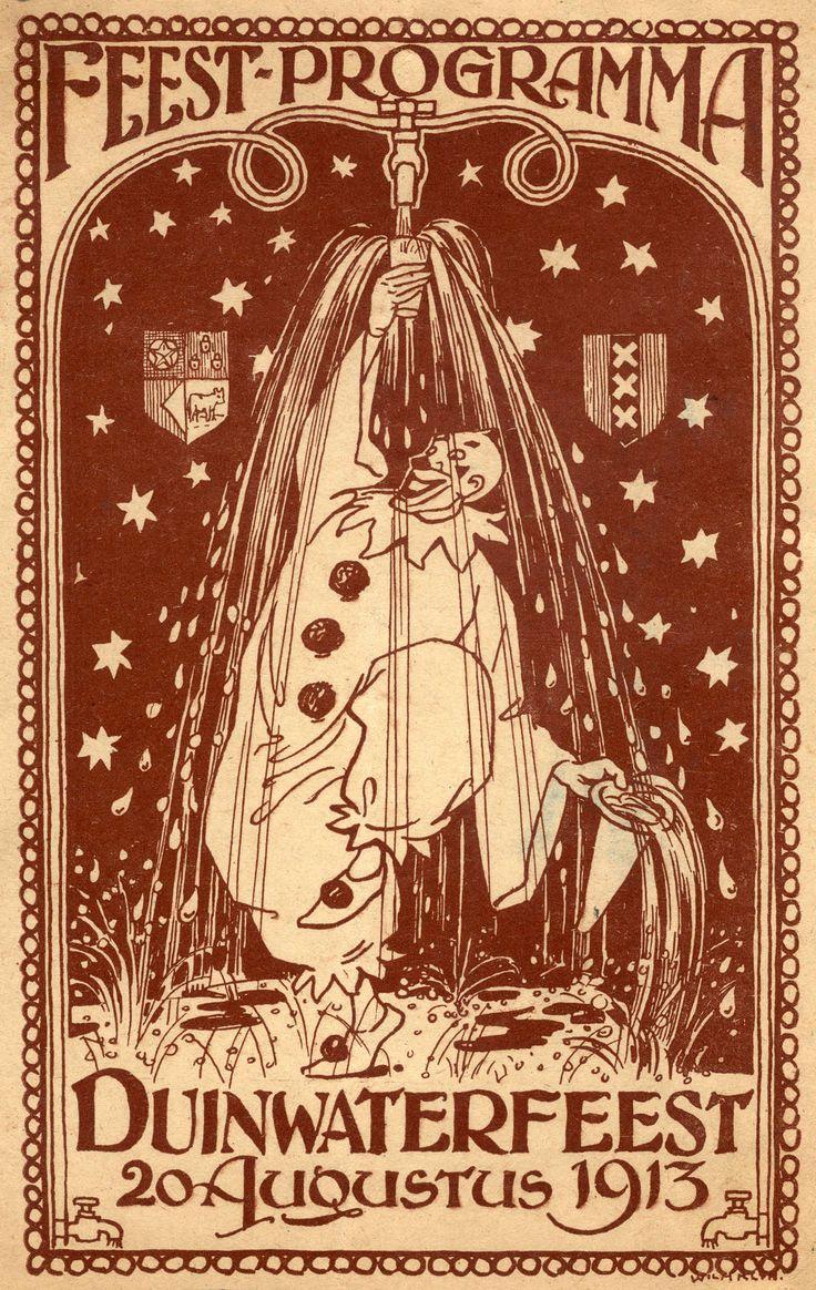 Waterleidingen. Kaart van het feestprogramma voor het Duinwaterfeest 1913. Nederland.