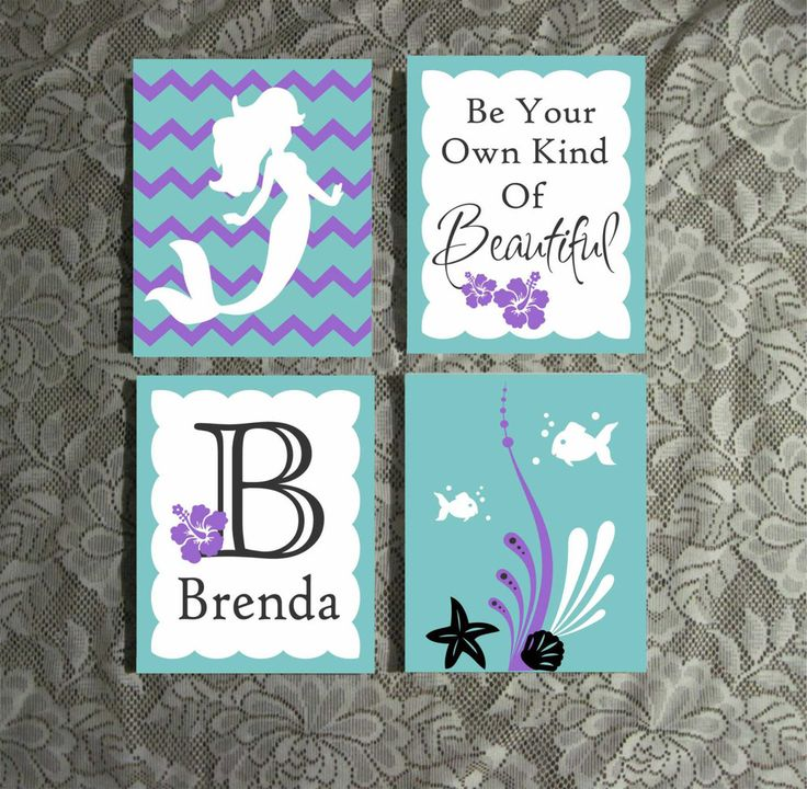 "Set of 3 or 4 Adorable Mermaid Themed Girl Nursery 8"" x 10"" Acrylic Paintings. (Not a print.) As with any hand painted item colors may vary slightly. *We can change colors! (See second picture for the"