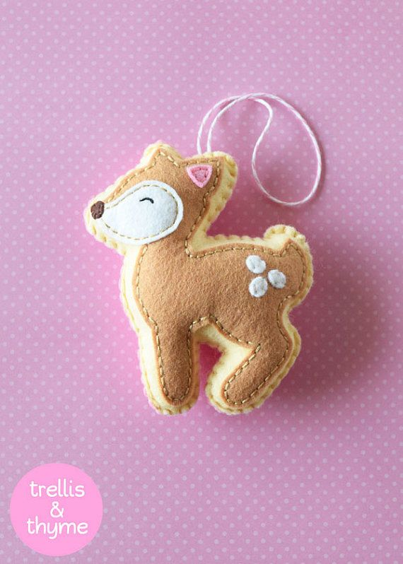 PDF patroon - kleine herten patroon, Kawaii vilt Ornament patroon, voelde Softie naaien patroon, voelde herten patroon