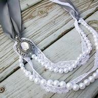 Want: Diy Necklaces, Pearls Necklaces, Diy Lanvin Inspiration, Ribbons Necklaces, Lanvininspir Pearls, Ribbon Necklace, Lanvin Inspiration Pearls, Pearls And Lace, Lace Necklaces