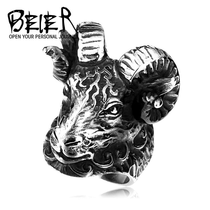 BEIER Huge Tibetan Antelope Sheep Ring Cool Animal Stainless Steel Jewelry Ring Punk Unique Heavy Metal Jewelry BR8-157