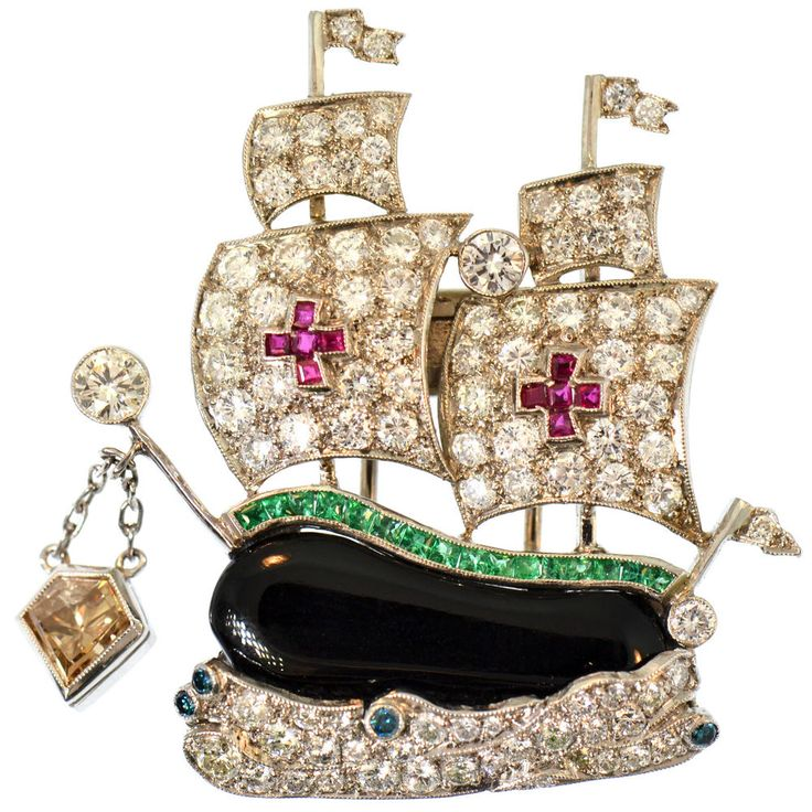 4.50 CT FINE DIAMOND EMERALD RUBY ONYX BROOCH PLATINUM ESTATE GALLEON SAIL SHIP
