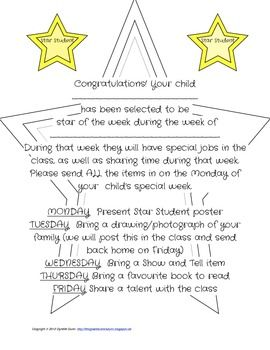 Star Student of the Week letter to the parents
