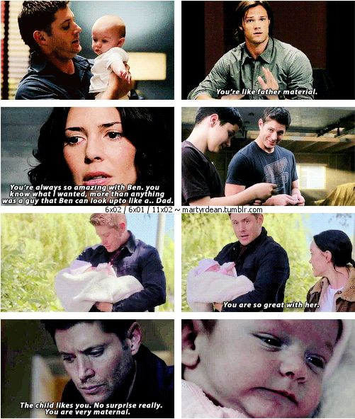 "11x02 Form and Void + 6x02 & 6x01 [gifset] - ""You're very maternal"" - Dean Winchester, Sam, Lisa, Ben, Baby Amara, Crowley; Supernatural"