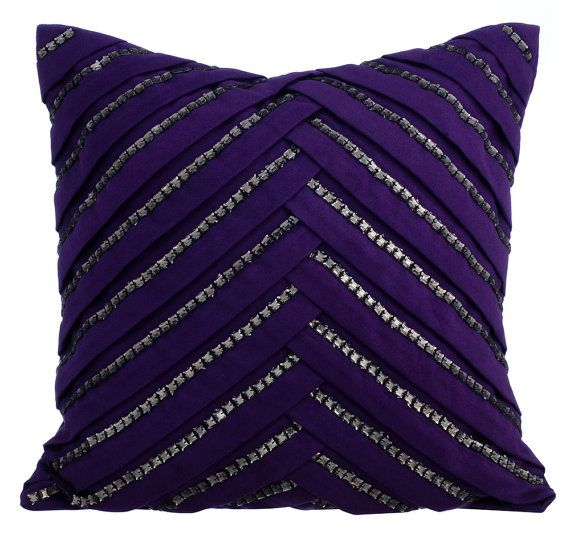 Purple Influence - 16 x 16 Suede Pleated Crystal Embroidered  Purple Throw Pillow.