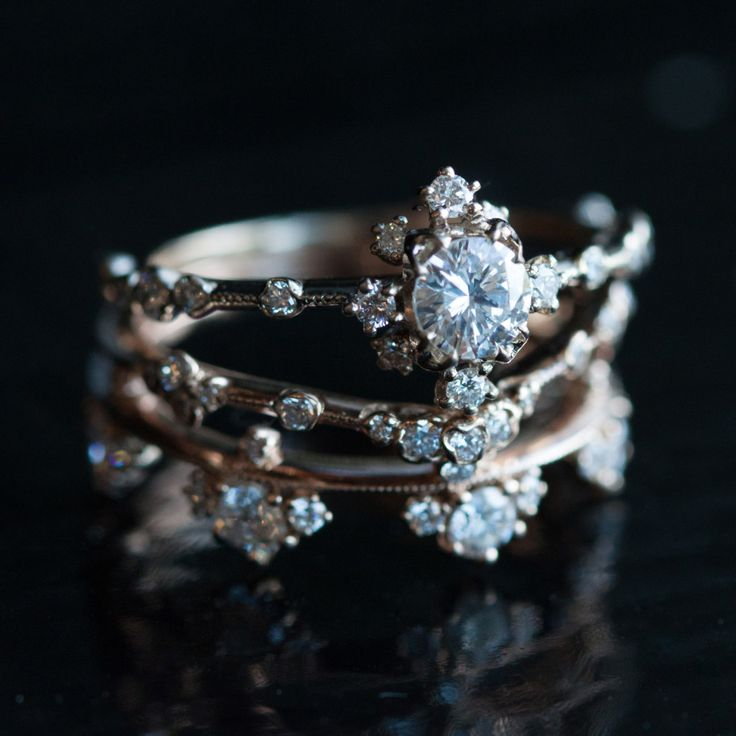Camellia Ring, Curved Willow Band, and Plum Blossom Band // Kataoka
