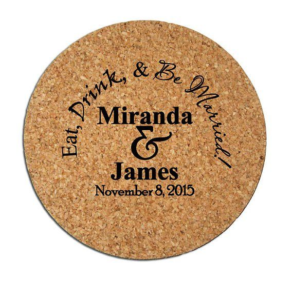 Personalised cork coasters - see more ideas at http://themerrybride.org/2014/09/06/ideas-for-personalising-your-wedding/