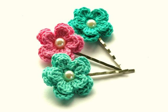 Crochet Flowers Bobby Pins in  Aqua Green and Candy by AnnieDesign, $9.75