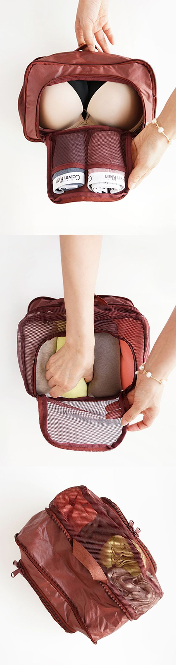We're taking undie organization to the next level! This useful pouch is double-sided & expandable! One side has a roomy mesh compartment that fits 3-4 bras or 20 pairs of panties while the other side is made of lightweight nylon & has 2 pockets for folded underwear or socks. This flexible pouch won't add weight to your luggage & can fit your needs whether you want to fit it into tight spaces or fit more inside! Learn more about this unique pouch, pack it on your next trip, & travel light as…