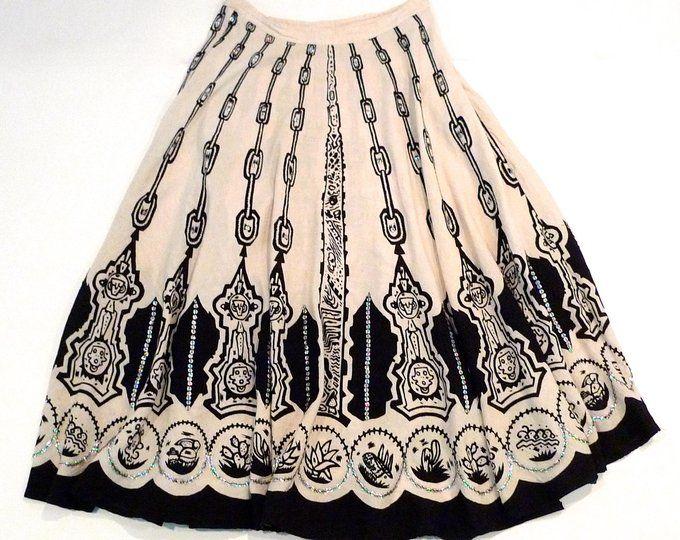 VINTAGE nature inspired print skirt