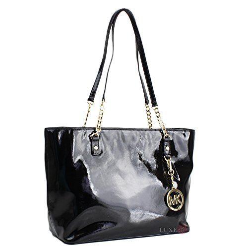 062886de5b66  michaelkors Michael Kors Patent Leather Jet Set EW Chain Tote Handbag  Black Michael Kors http