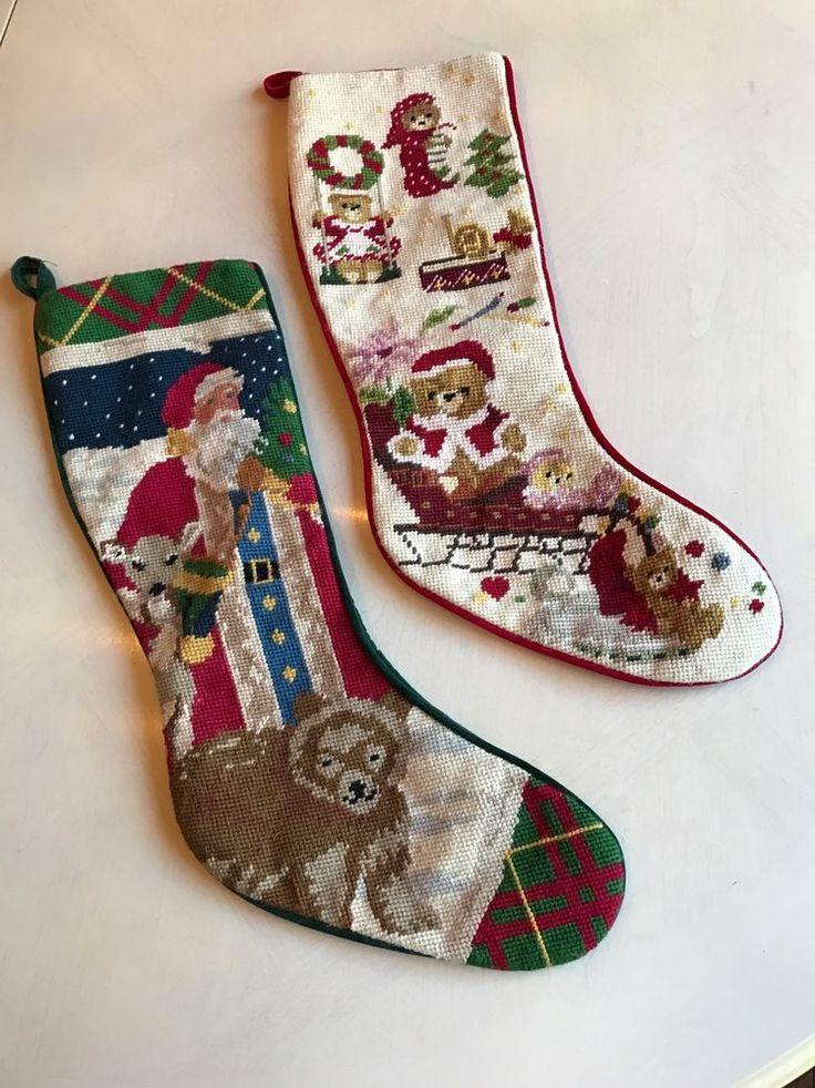 Toys Tree & Santa Claus Bear Finished Christmas Needlepoint Stocking 2 Pc Lot #Unbranded