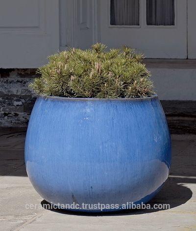 vietnam outdoor glasierte keramische runden pflanzer zum anpflanzen