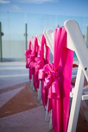 wedding chair ties// Beach Wedding in Cancun, Mexico// www.meridithdesmondphoto.com/