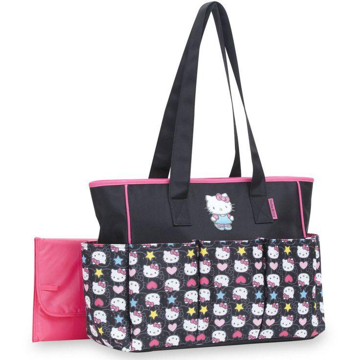 Diaper Bag Tote Baby Changing Pad 6 Pocket Large Hello Kitty Handbag Pink/Black #diaperbagtote #newborn #largehandbag #hellokitty
