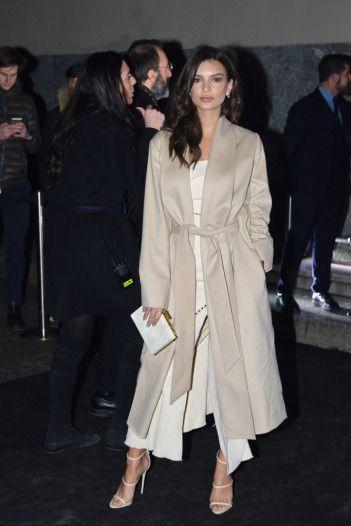 Emily Ratajkowksi at a party in Milan wearing Giuseppe Zanotti sandals.