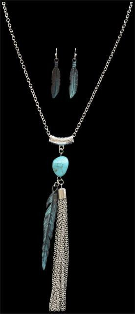 (3DB-NE15087TQ) Western Patina Feather Necklace & Earrings