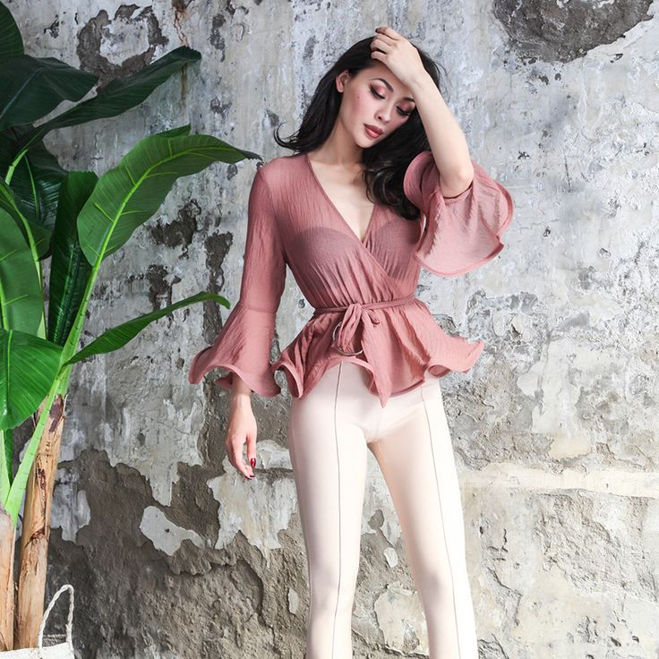 Find More Blouses & Shirts Information about 2017 Summer Elegant See Through Seersucker Shirt Women Wavy Edge Flare Sleeve Adjustable Waist V neck One Size Fits All,High Quality shirt women,China seersucker shirts Suppliers, Cheap flare sleeve from Mr. and miss on Aliexpress.com