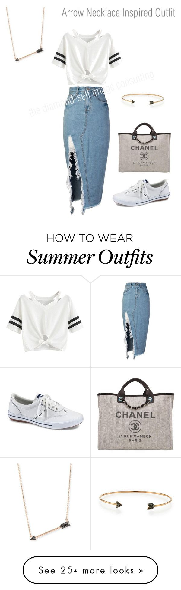 """""""arrow necklace inspired outfit"""" by jessicaahn on Polyvore featuring storets, Chanel, Sydney Evan, Keds and Diane Kordas"""