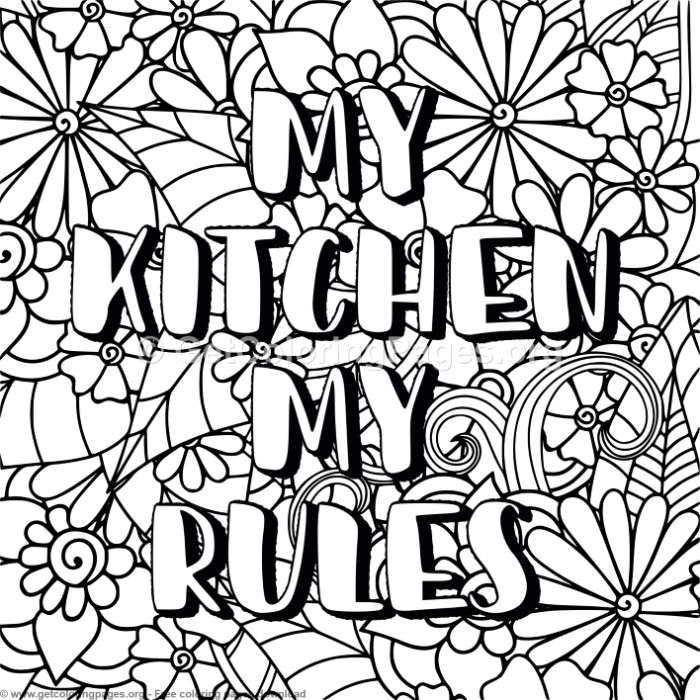 Zentangle My Kitchen My Rules Coloring Pages ...