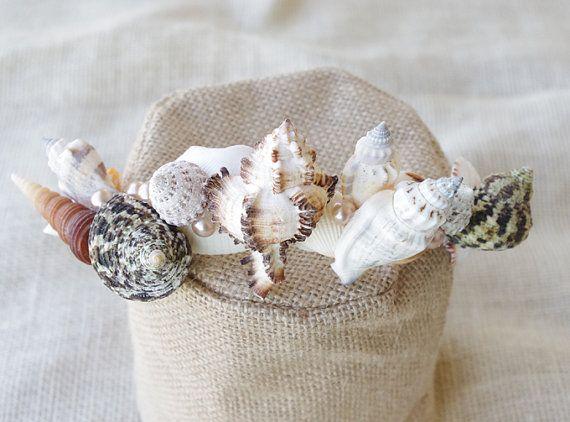 Schelpen parels bloem haar krans verstelbare bruiloft door Wedideas