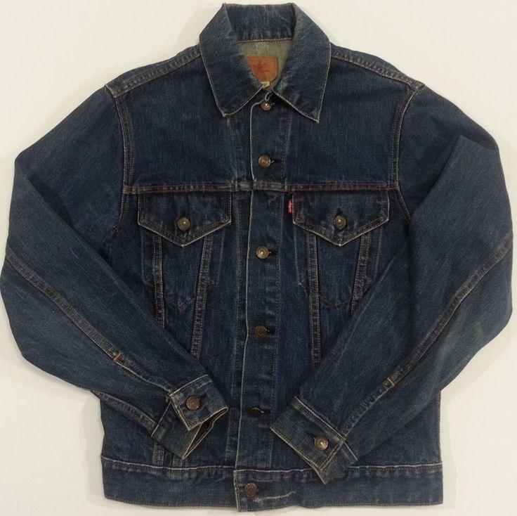 Levis Denim Jacket Vintage Medium Mens Distressed Trucker Jean #Levis #DenimJeanJacket