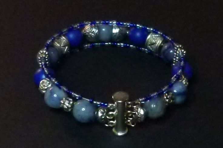 Sodalite and silver bracelet with double locking magnetic clasp - hand made by Kathy Stewart (Canada)  To see more please go to www.GlamNGlitter.com