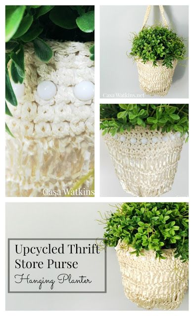 Upcycled Thrift Store Purse Hanging Planter.  A much better idea than having those old purses collect dust in the closet. #TriplePFeature