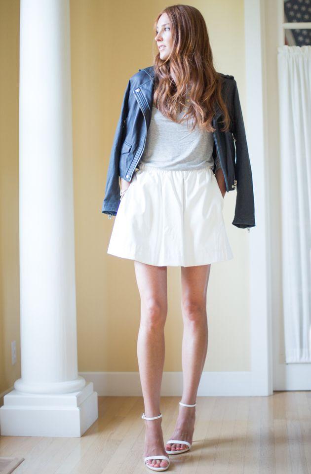 QMack leather skirt, IRO jacket, Zara sandals