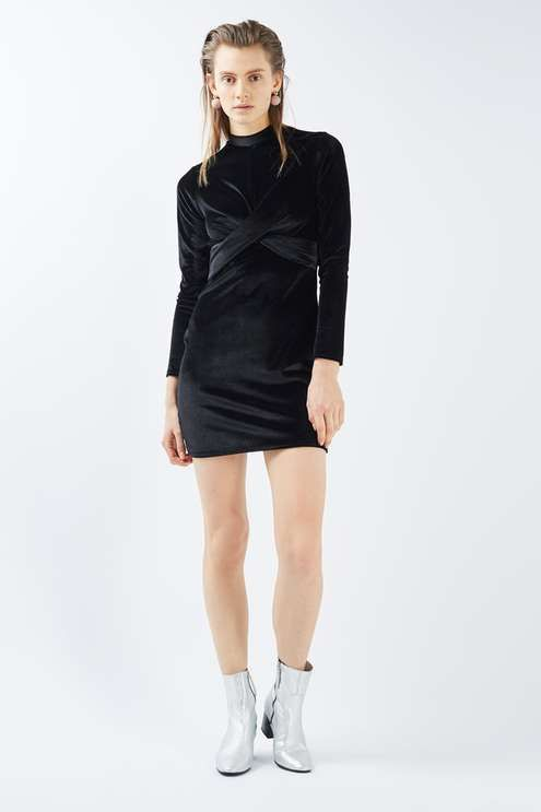 Twist front velvet long sleeve mini dress. #Topshop